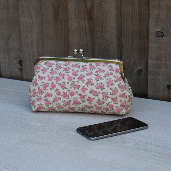 8 Inch Frame Clutch Purse in Cream Cotton with Pink Flowers Print