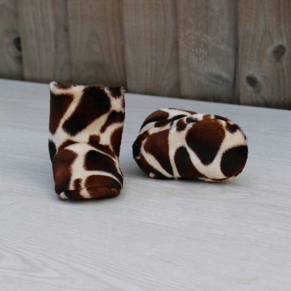 Baby Boots in Giraffe Print faux Fur ideal Baby Shower Gift