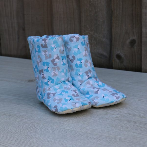 Baby Boots in Light Blue Cotton with Cute Fox Print Pattern with Non-Slip Soles, Ideal Baby Shower Gift