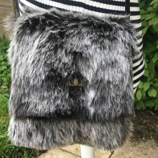 Black Faux Fur Messenger Bag with Black Cotton Lining