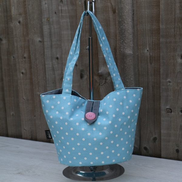 Bucket Shape Handbag in Light Blue Cotton with White Polka Dots