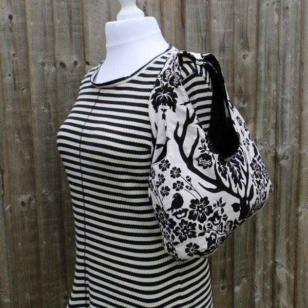 Classic Hobo Handbag, Shoulder Bag with Black Deer Antler Damask Print