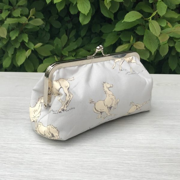 Clutch Purse with Horse Print 8 Inch Metal Frame