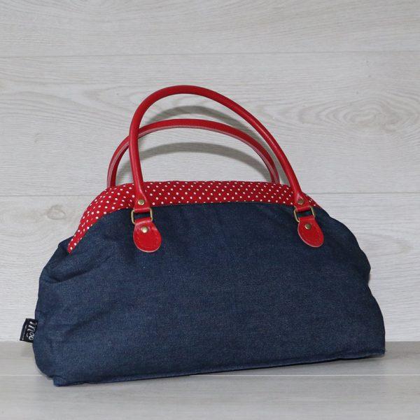 Large Vintage Style Carpet Handbag in Navy Blue Denim Red Polka Dot Lining