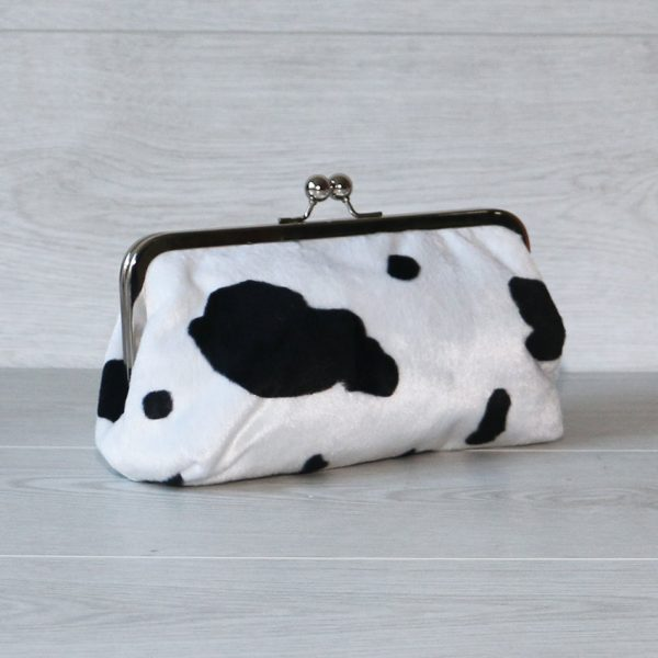 MADE TO ORDER 8 Inch Frame Clutch Purse in Faux Fur Cow Print