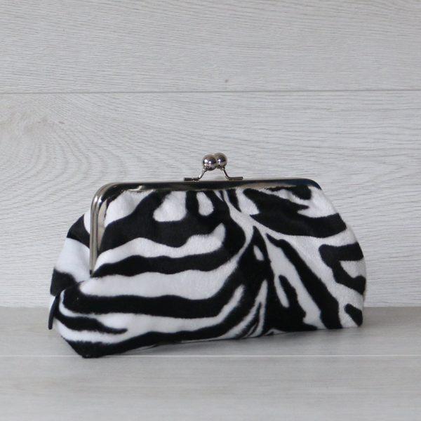 MADE TO ORDER 8 Inch Frame Clutch Purse in Faux Fur Zebra Print