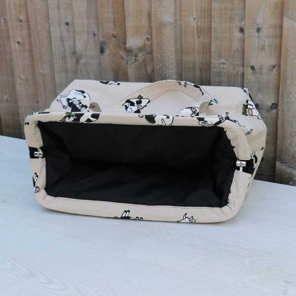 MADE TO ORDER Weekend Bag in Heavy Cream Cotton with Fun Cow Patten