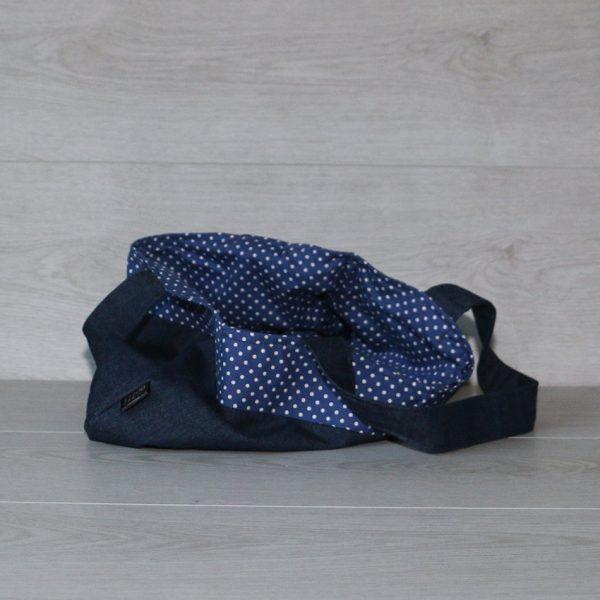 Over the Shoulder Hobo Handbag in Denim with Navy Blue Polka Dot Trim & Lining