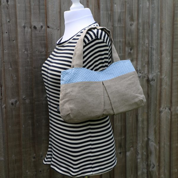 Over the Shoulder Hobo Handbag with Light Blue Polka Dot Trim & Lining