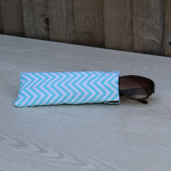 Sun Glasses Case – Light Blue Chevrons Pattern Cotton
