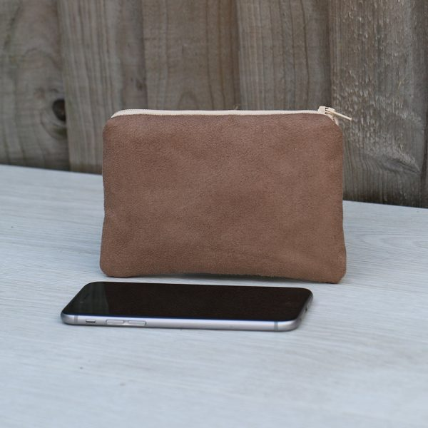 Zip Coin Purse – Light Brown Faux Seude