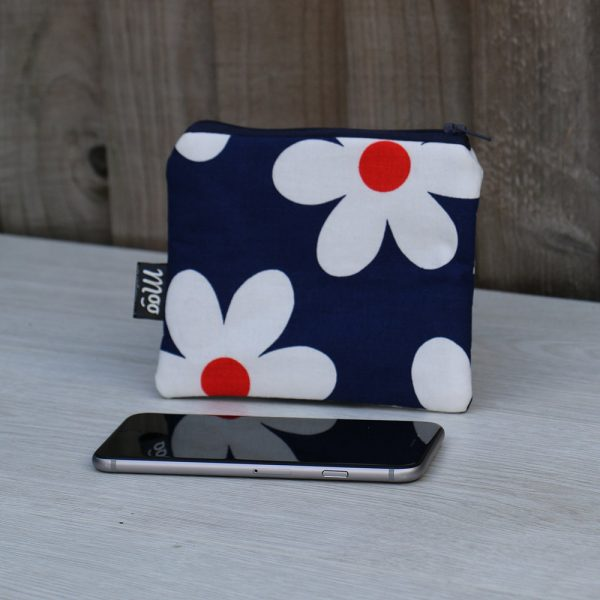 Zip Coin Purse – Navy Blue Cotton with Large Red and White Daisies
