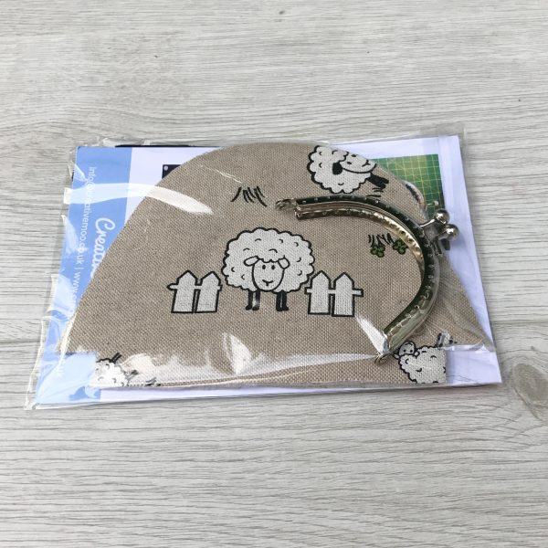 Coin Purse Sewing Kit with Kiss Clasp - Ideal Stocking Filler  - Choice of Fabrics Cow, Sheep, Owl, Dog or Kitten fabric