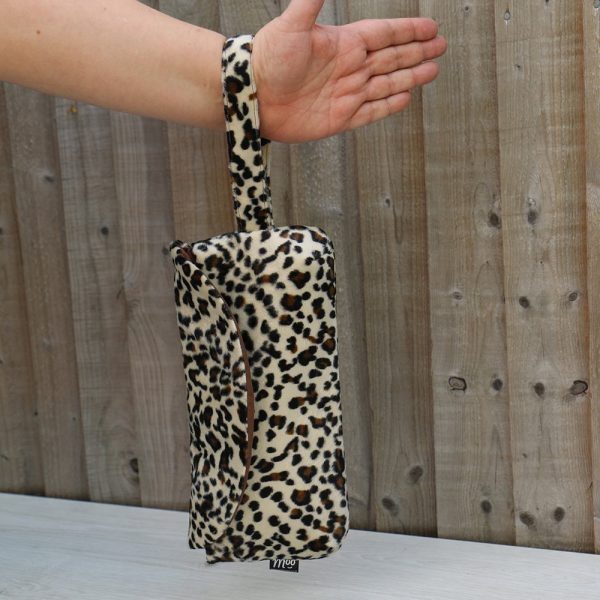 Clutch Purse with Wrist Strap in Snow Leopard Faux Fur with Brown Cotton Lining