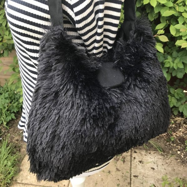 Hobo Style Handbag in Black or Grey Faux Fur with Matching Cotton Lining