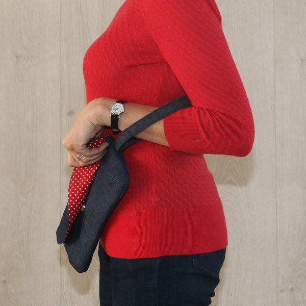 Long Clutch Purse with Strap – Denim with Red Polka Dot