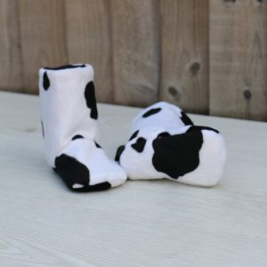 Baby Boots in Cow Print Faux Fur Ideal Baby Shower Gift