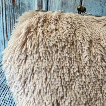 Clutch Frame Purse in Soft Cream Fluffy Faux Fur Fabric