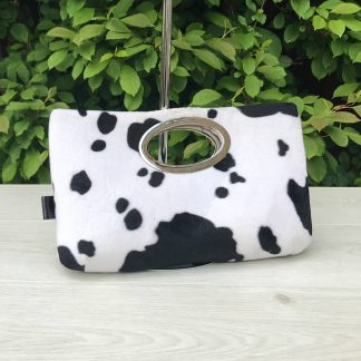 Clutch Purse with oval metal in Cow Print Faux Fur with Black Cotton Lining