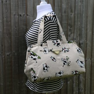 Weekend Bag in Heavy Cream Cotton with Fun Cow Patten