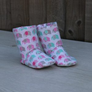 Baby Boots in White Cotton with Elephant Pattern, Ideal Baby Shower Gift