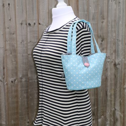 Bucket Shape Handbag in Light Blue Cotton with White Polka Dots