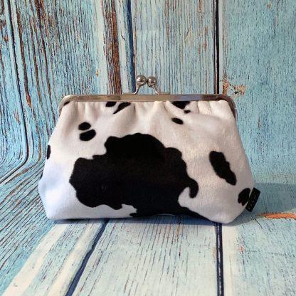 Clutch Frame Purse in Faux Fur Cow Print
