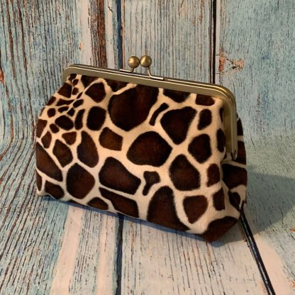 Clutch Frame Purse in Faux Fur Giraffe Print