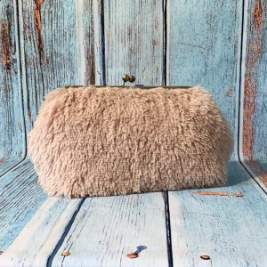 Clutch Frame Purse in Soft Cream Fluffy Faux Fur Fabric