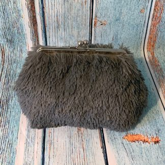 Clutch Frame Purse in Soft Fluffy Faux Fur Grey Fabric