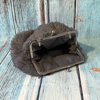 Clutch Frame Purse in Soft Fluffy Faux Fur Grey Fabric