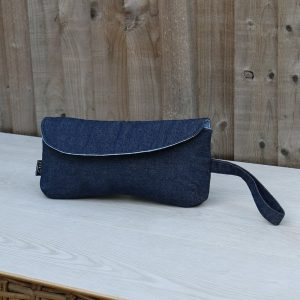 Clutch Purse in Denim with Blue Polka Dot Lining with Wrist Strap