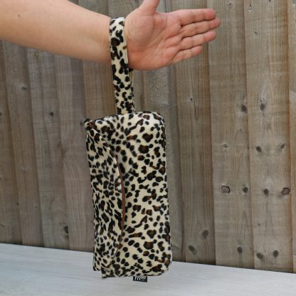 Clutch Purse with Wrist Strap in Leopard Faux Fur with Brown Cotton Lining