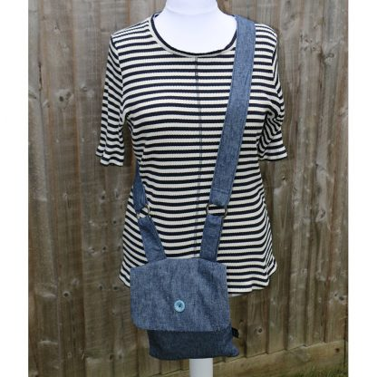 Crossbody Handbag in Denim with Light Blue Polka Dot Lining and Metal Ring Trim