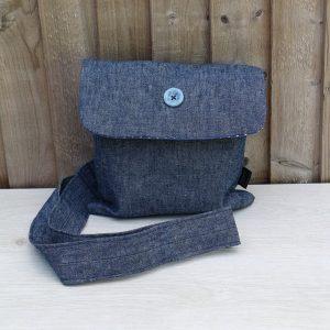 Crossbody Handbag in Denim with Light Blue Polka Dot Lining and Metal Ring Trim