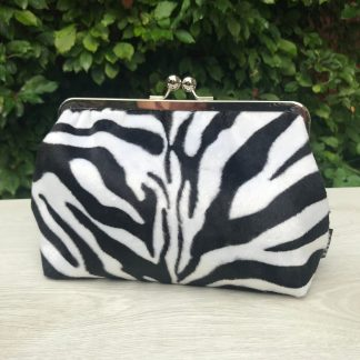 Frame Clutch Purse in Faux Fur Zebra Print