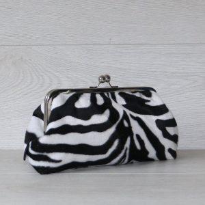 Frame Clutch Purse in Faux Fur Zebra Print