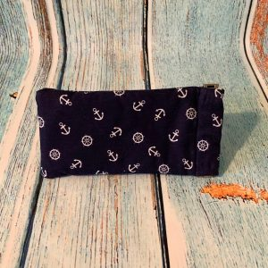 Glasses Case – Navy Blue Cotton with Sailor Nautical Pattern
