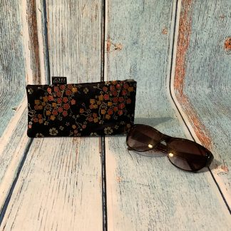 Glasses Case – Satin Brocade in Oriental Red and Gold Floral design