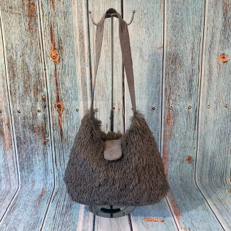 Hobo Style Handbag in Grey Faux Fur with Grey Cotton Lining