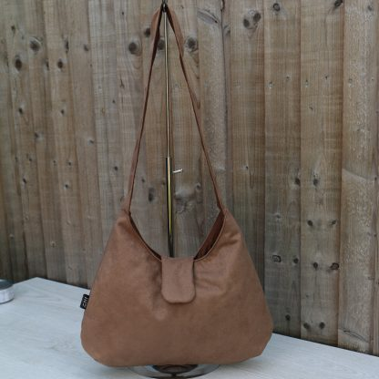 Hobo Style Handbag in Light Brown Faux Suede with Brown Cotton Lining