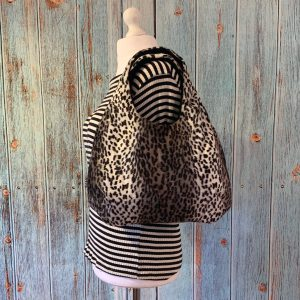 Large Hobo Round handbag in Snow Leopard Print Faux Fur