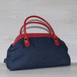 Large Vintage Style Carpet Handbag in Navy Blue Denim Red Polka Dot Lining