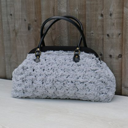 Large Vintage Style Carpet Handbag in Plush Soft Grey Fluffy Fabric with Rose Pattern