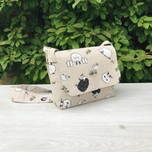 Messenger Bag with Cute Sheep Print in Beige Cotton