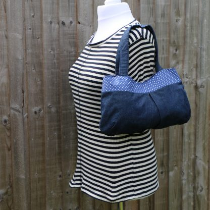 Over the Shoulder Hobo Handbag in Denim with Navy Blue Polka Dot Trim & Lining