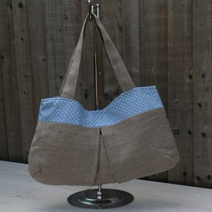 Over the Shoulder Hobo Handbag with Light Blue Polka Dot Trim & Lining
