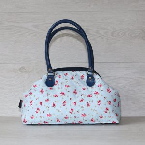Poppin Small Handbag – Light Blue with Pink Flowers