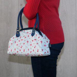 Poppin Small Handbag – Light Blue with Pink Flowers