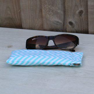 Sun Glasses Case – Light Blue Chevrons Pattern Cotton